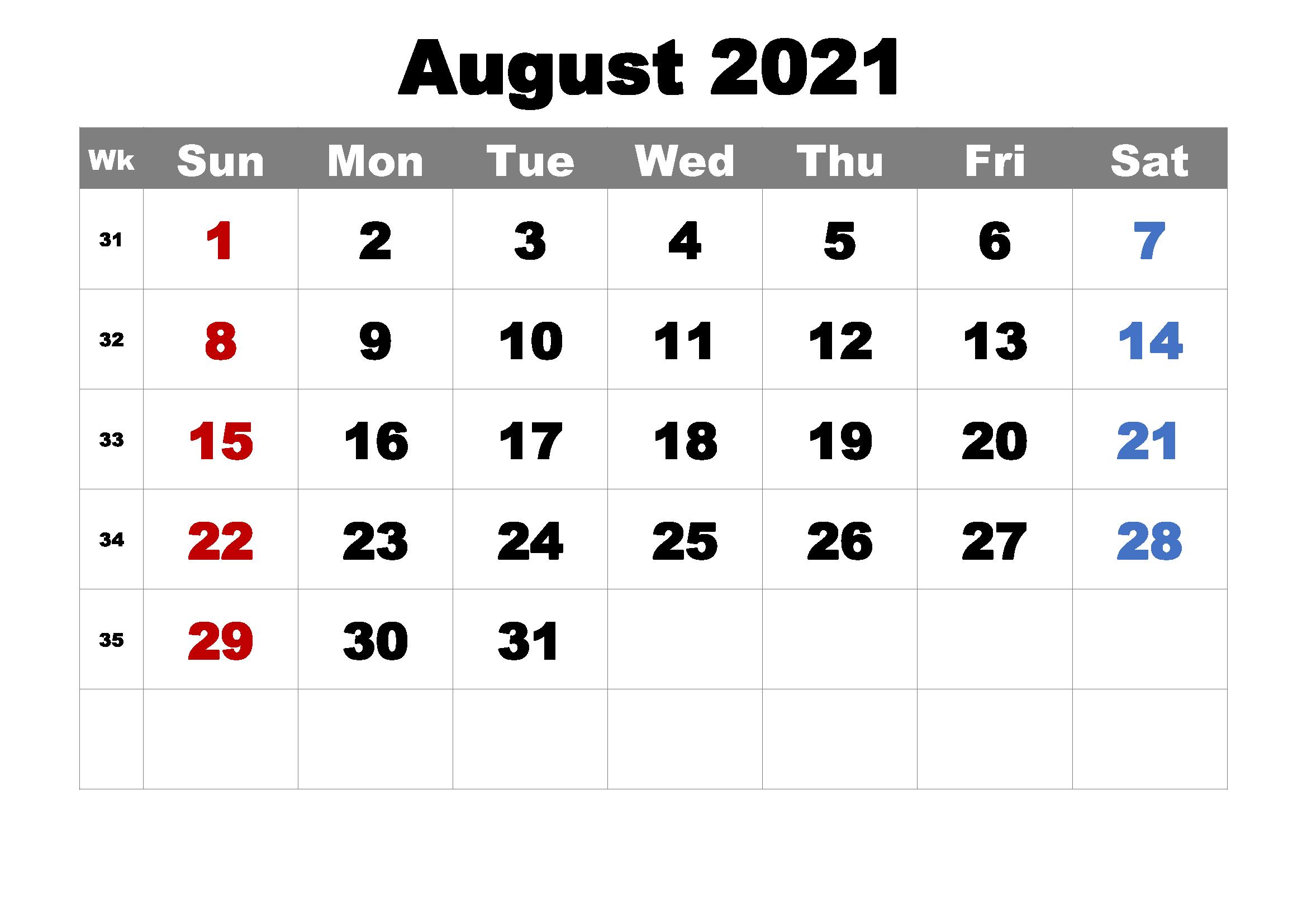 2021 August Calendar PDF