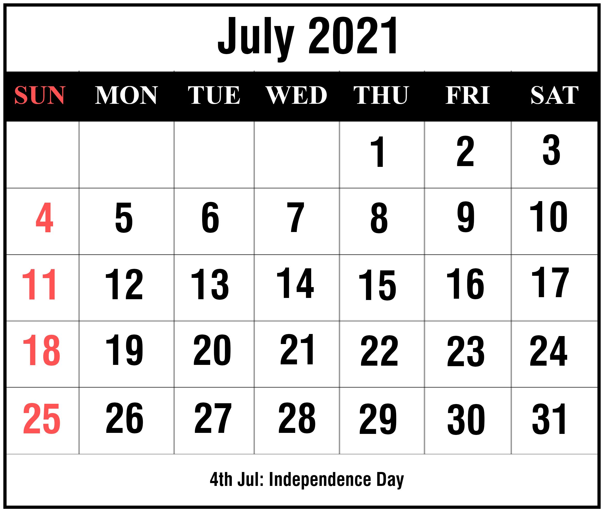 July 2021 Calendar PDF