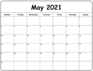 2021 May Blank Calendar
