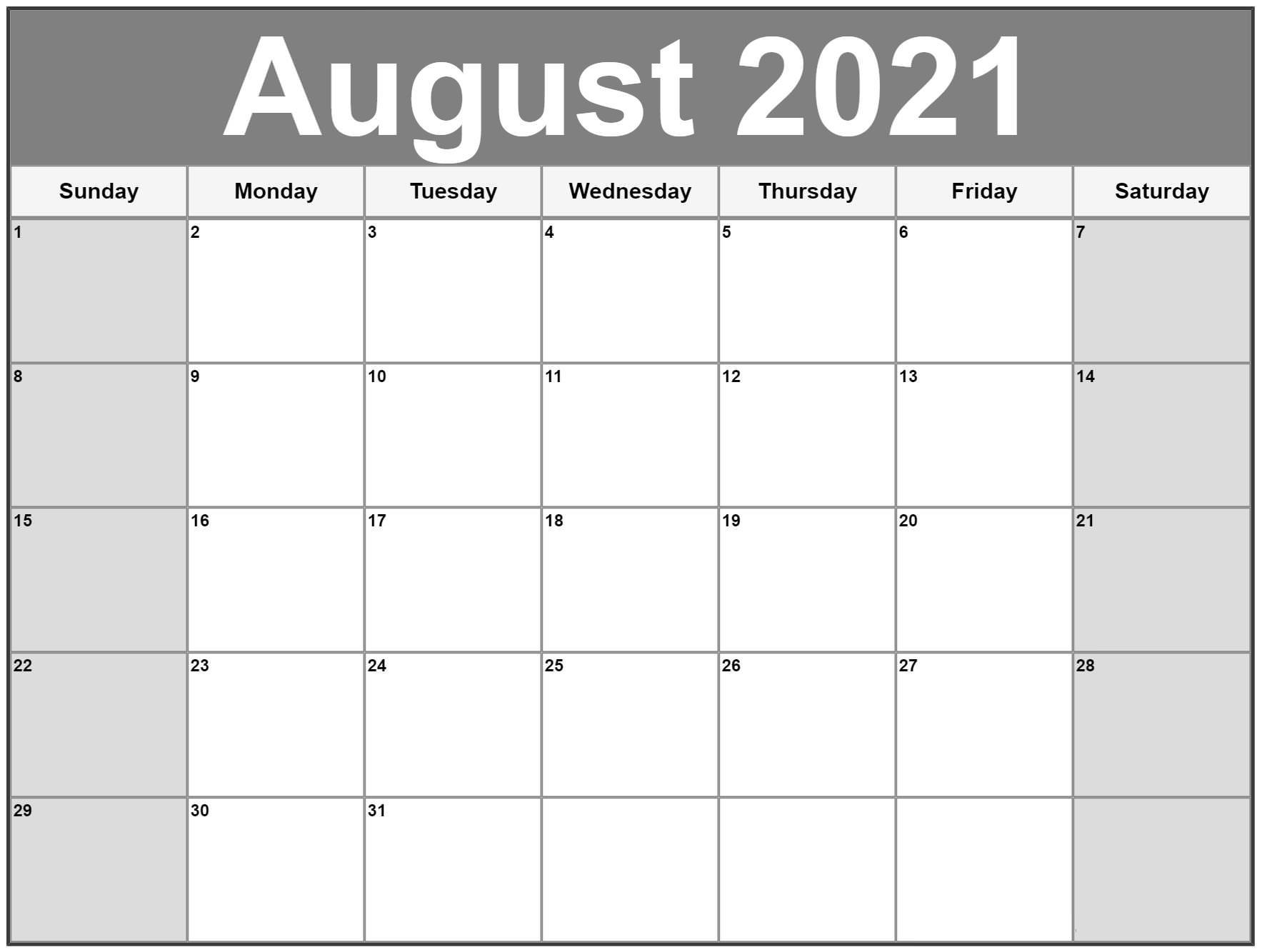 August 2021 Blank Calendar