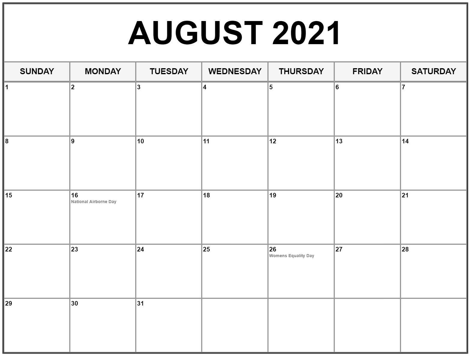 Printable Free Blank August 2021 Calendar Template [PDF ...