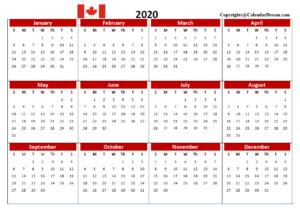 Canada 2020 Printable Calendar