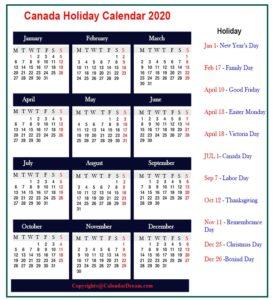Canada 2020 Public Holidays Calendar
