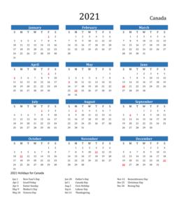 Canada 2021 Calendar