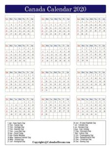 Canada Calendar 2020 Printable