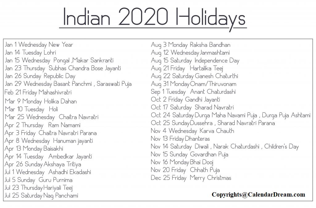 Public Holidays in India 2020