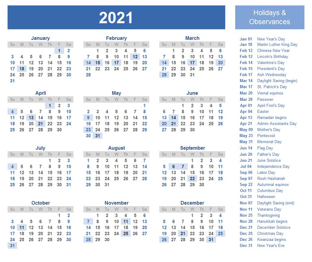 India 2021 Calendar Printable