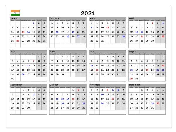 India 2021 Calendar