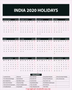 Printable Calendar 2020 with India Holidays