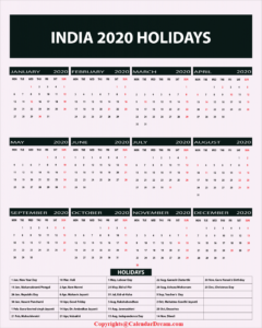Printable Calendar 2020 with India Holidays