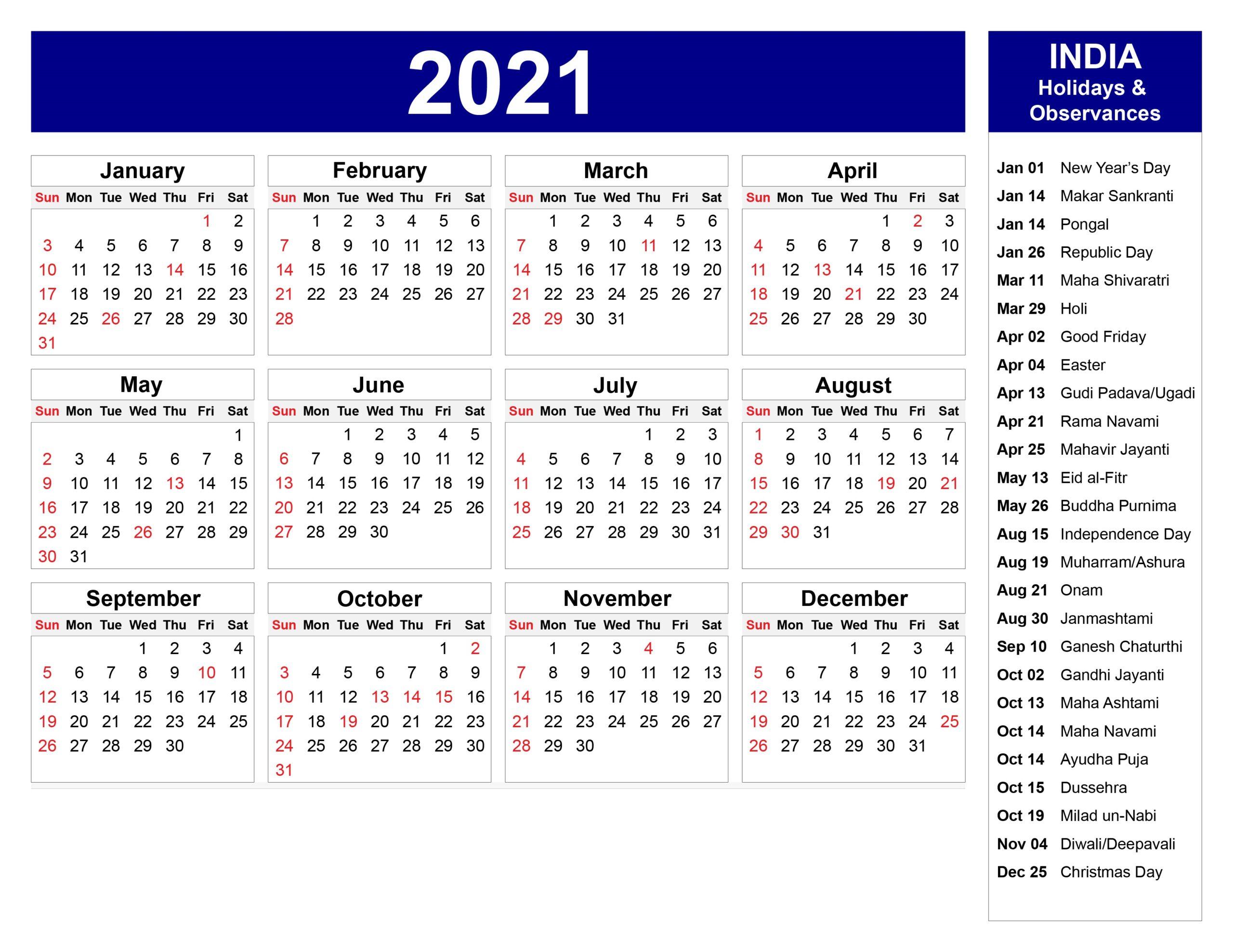India 2021 Printable Calendar