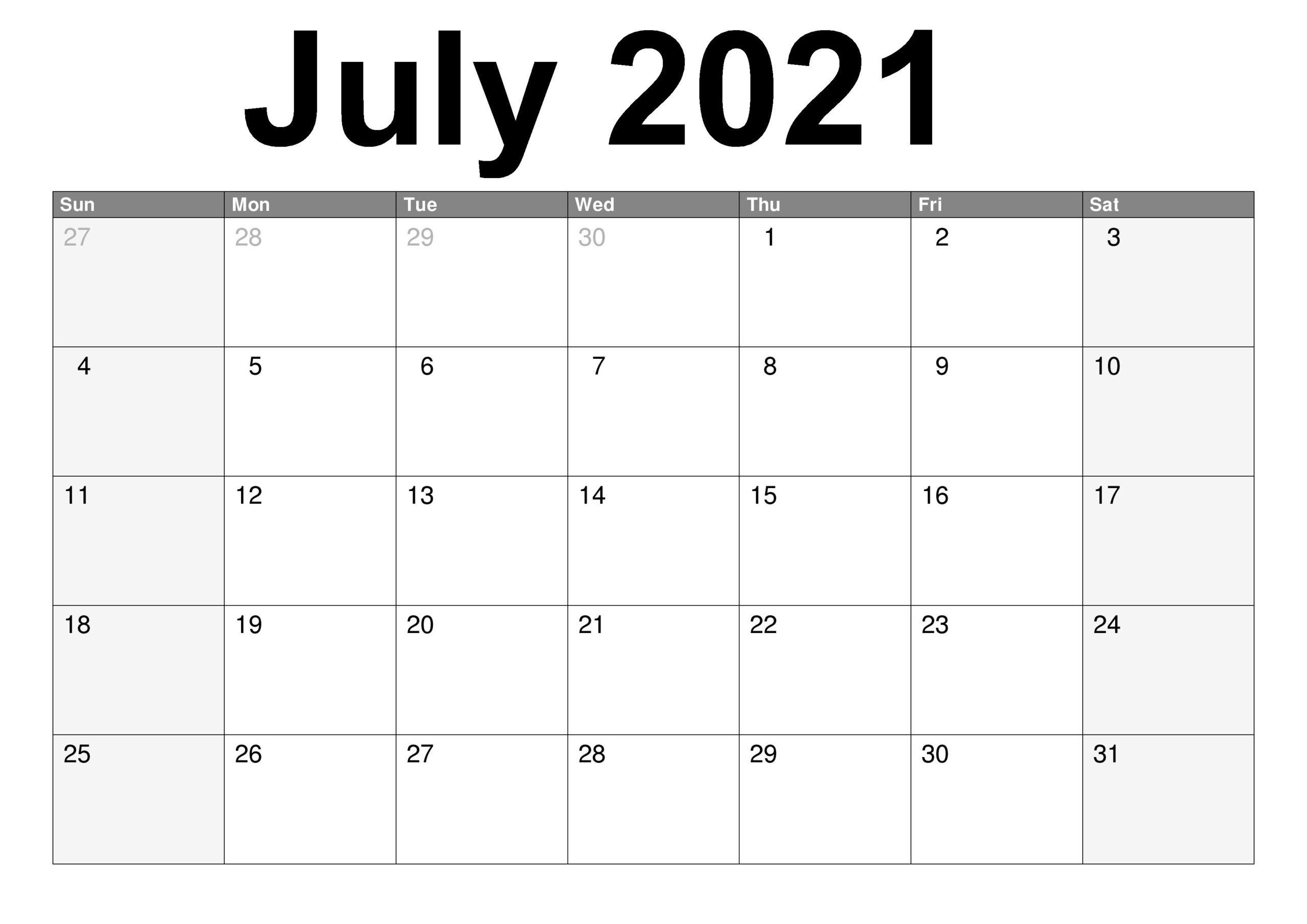Free Printable July 2021 Calendar Template in PDF & Word ...