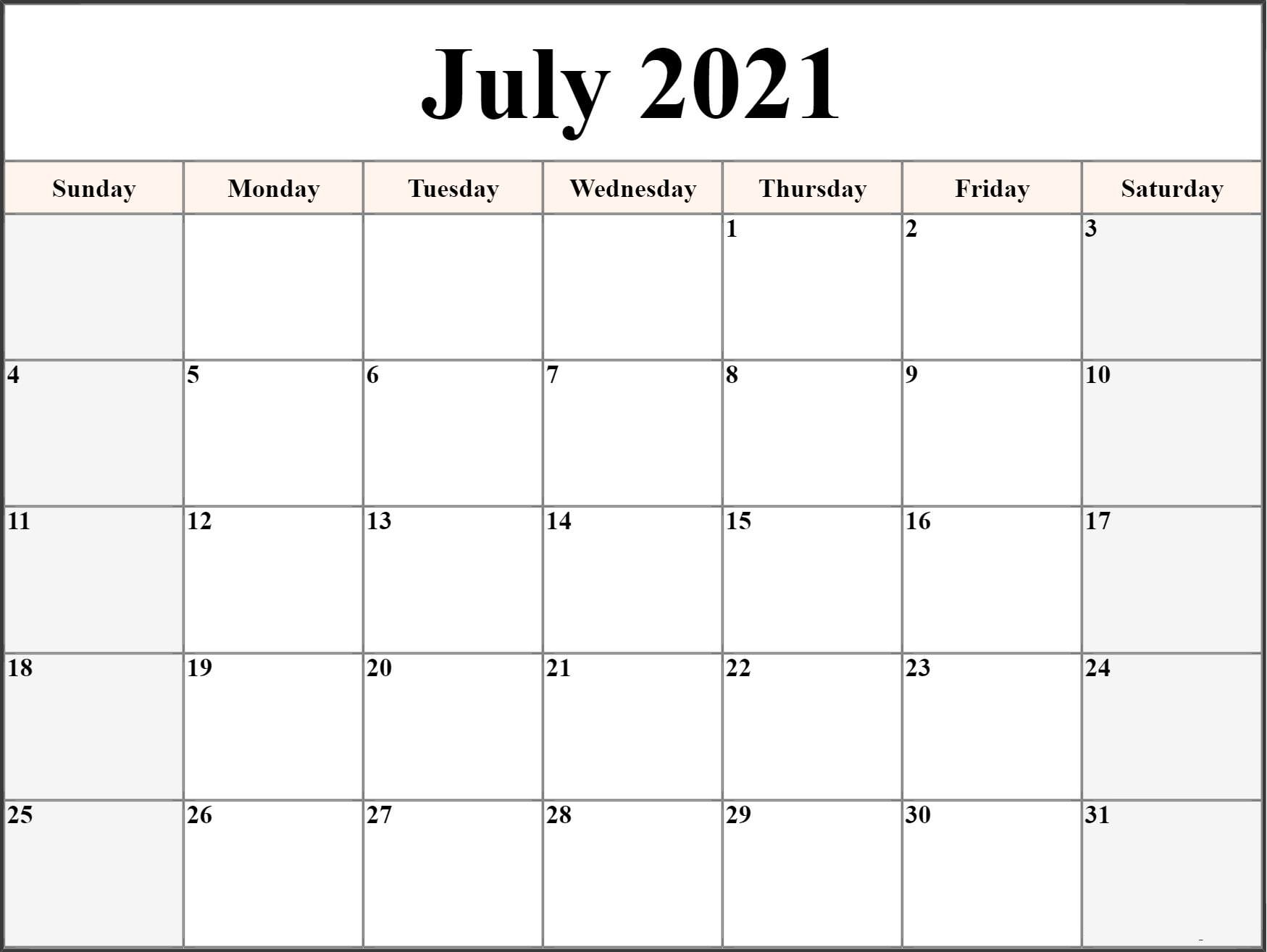 Free Printable July 2021 Calendar Template in PDF & Word