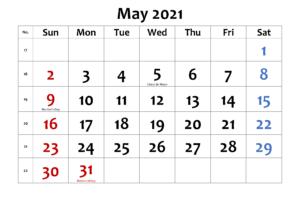 May 2021 Calendar PDF
