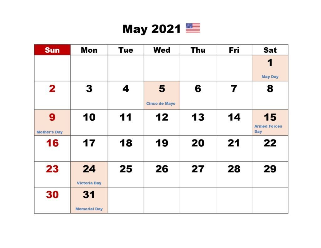 Free Blank May 2021 Printable Calendar Template [PDF ...