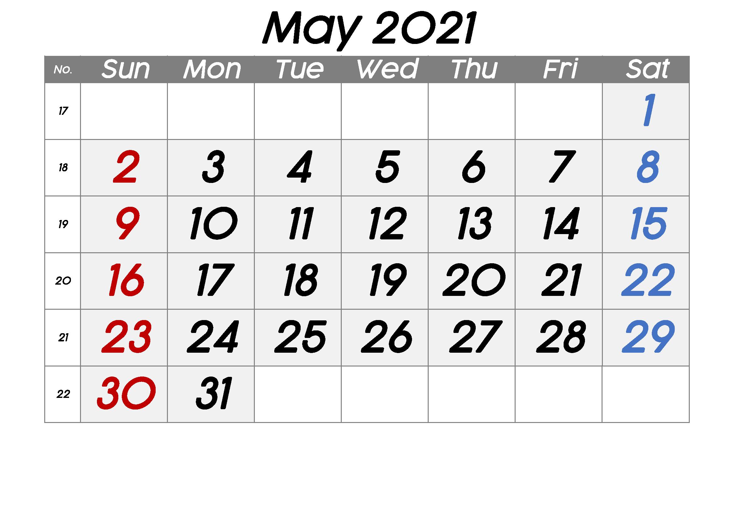 Free Blank May 2021 Printable Calendar Template [PDF ...