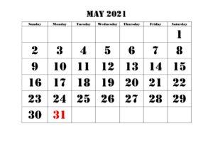 May Printable 2021 Calendar Template