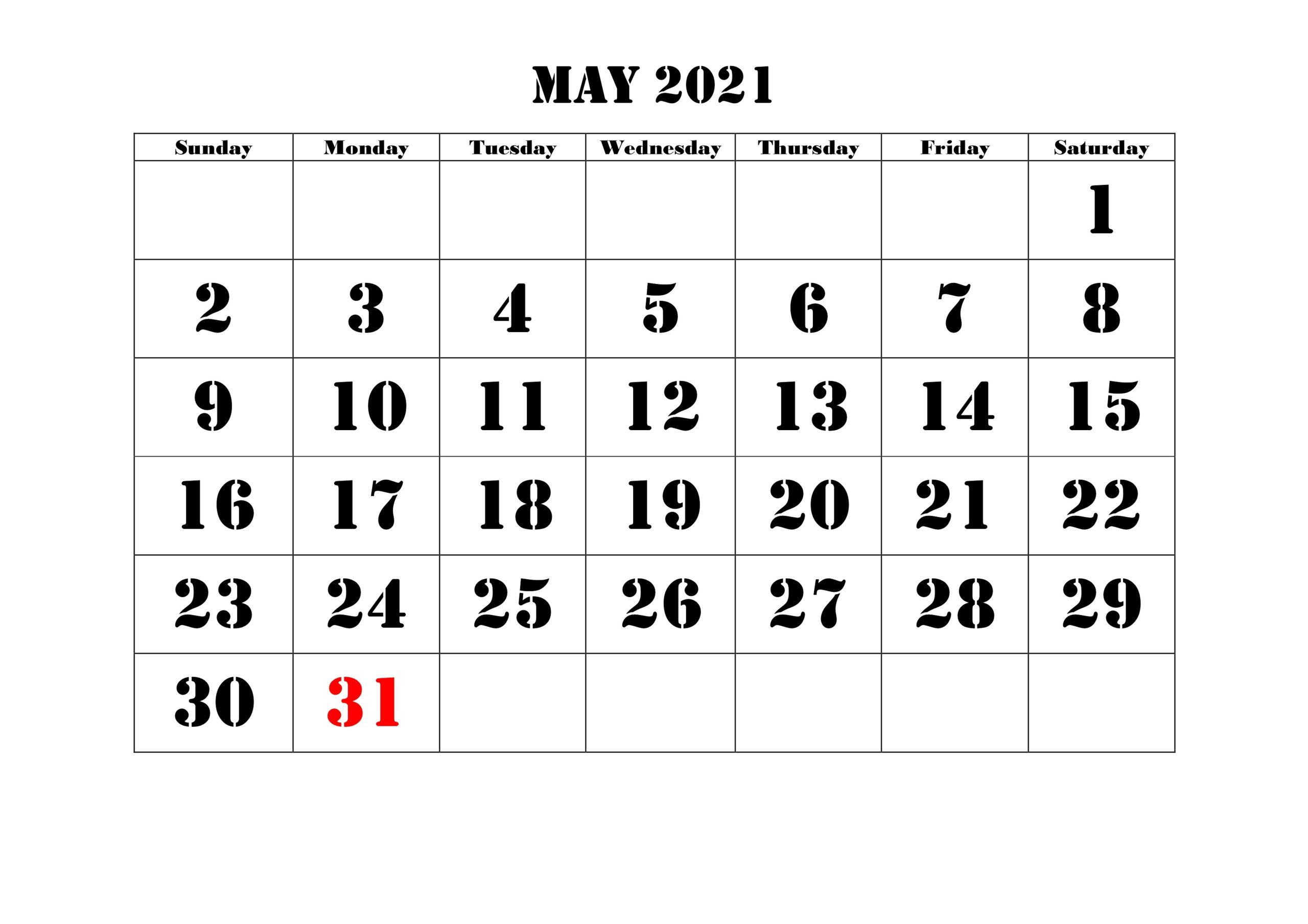 May Printable 2021 Calendar Template