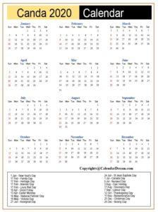 Printable Calendar 2020 with Canada Holidays