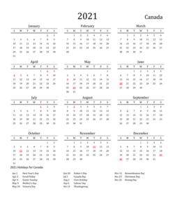 Printable Calendar 2021 with Canada Holidays