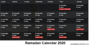 Ramadan Calendar 1441