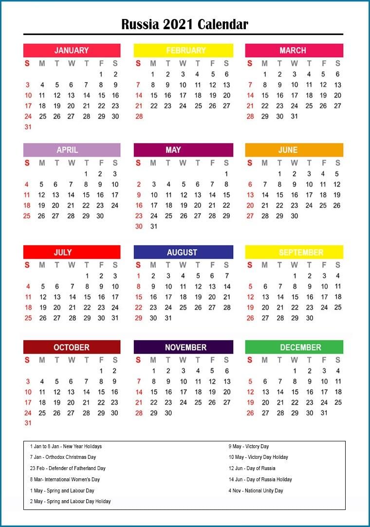 Russia 2021 Printable Calendar