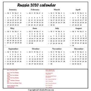 Russia Calendar 2020