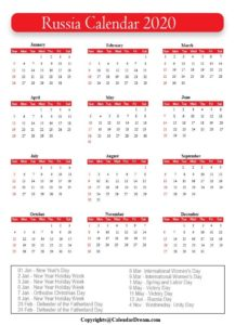 Russia Calendar 2020 with Holidays