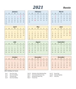 Russia Calendar 2021