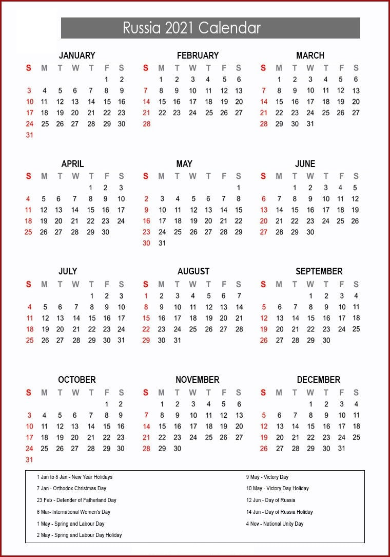 Russia Calendar 2021 with Holidays