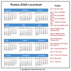 Russian Holidays 2020 Calendar