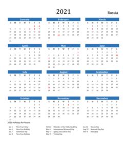 Russian Holidays 2021 Calendar