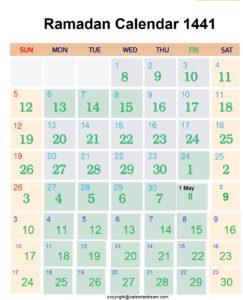 Islamic Ramadan Calendar 2020