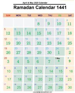 Ramadan 2020 Calendar with Prayer Times