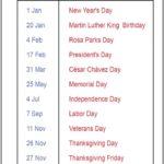 2020 California Calendar Public Holidays