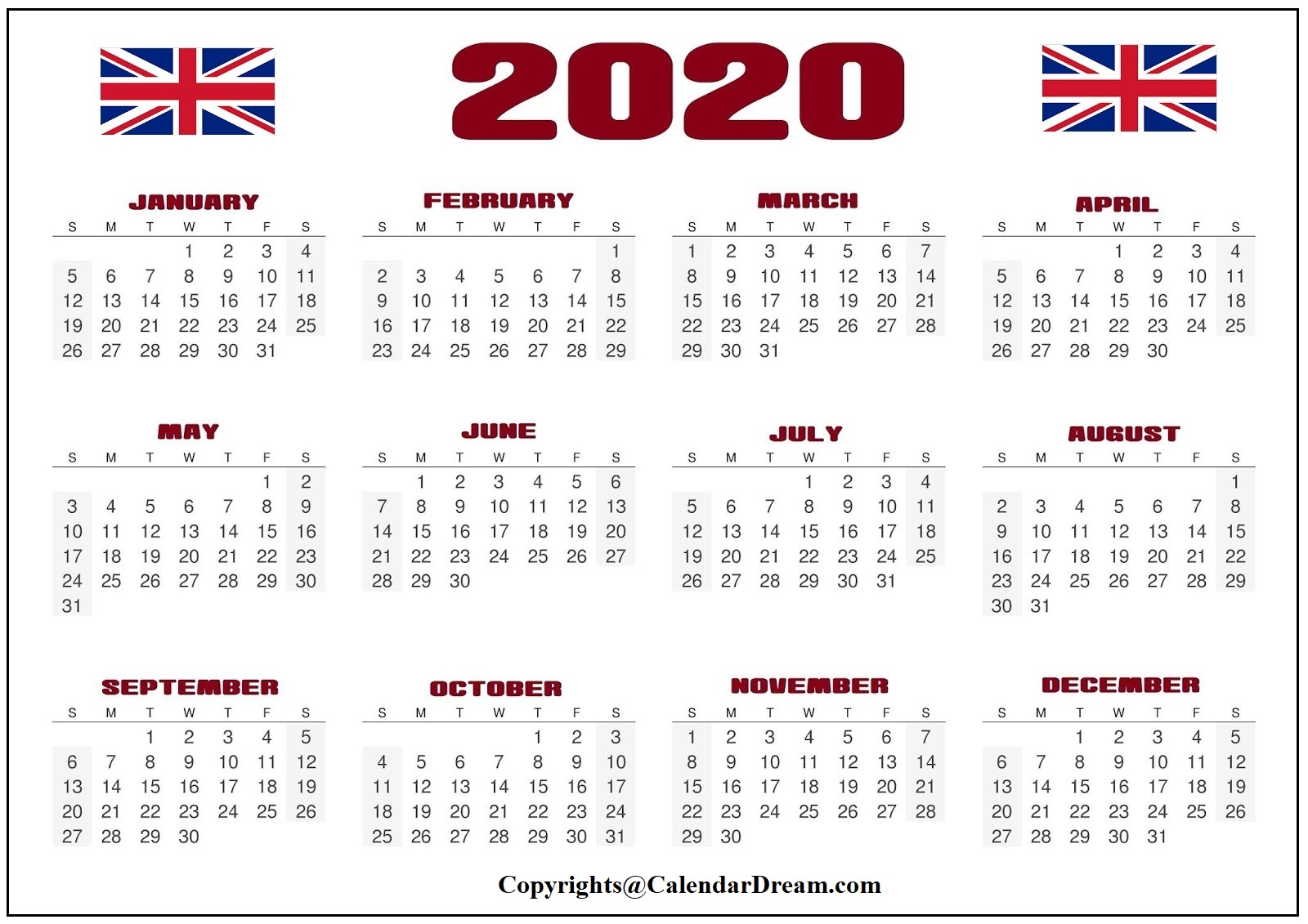 England 2020PrintableCalendar