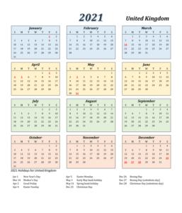 2021 England Calendar Public Holidays