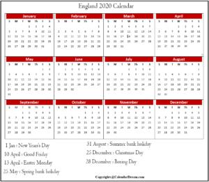 Public Holidays in England 2020