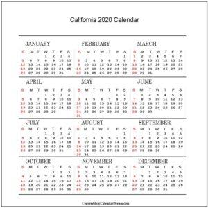 California 2020 Calendar