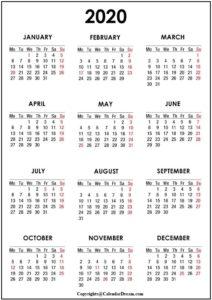 2020 England Calendar Public Holidays