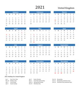 England 2021 Calendar