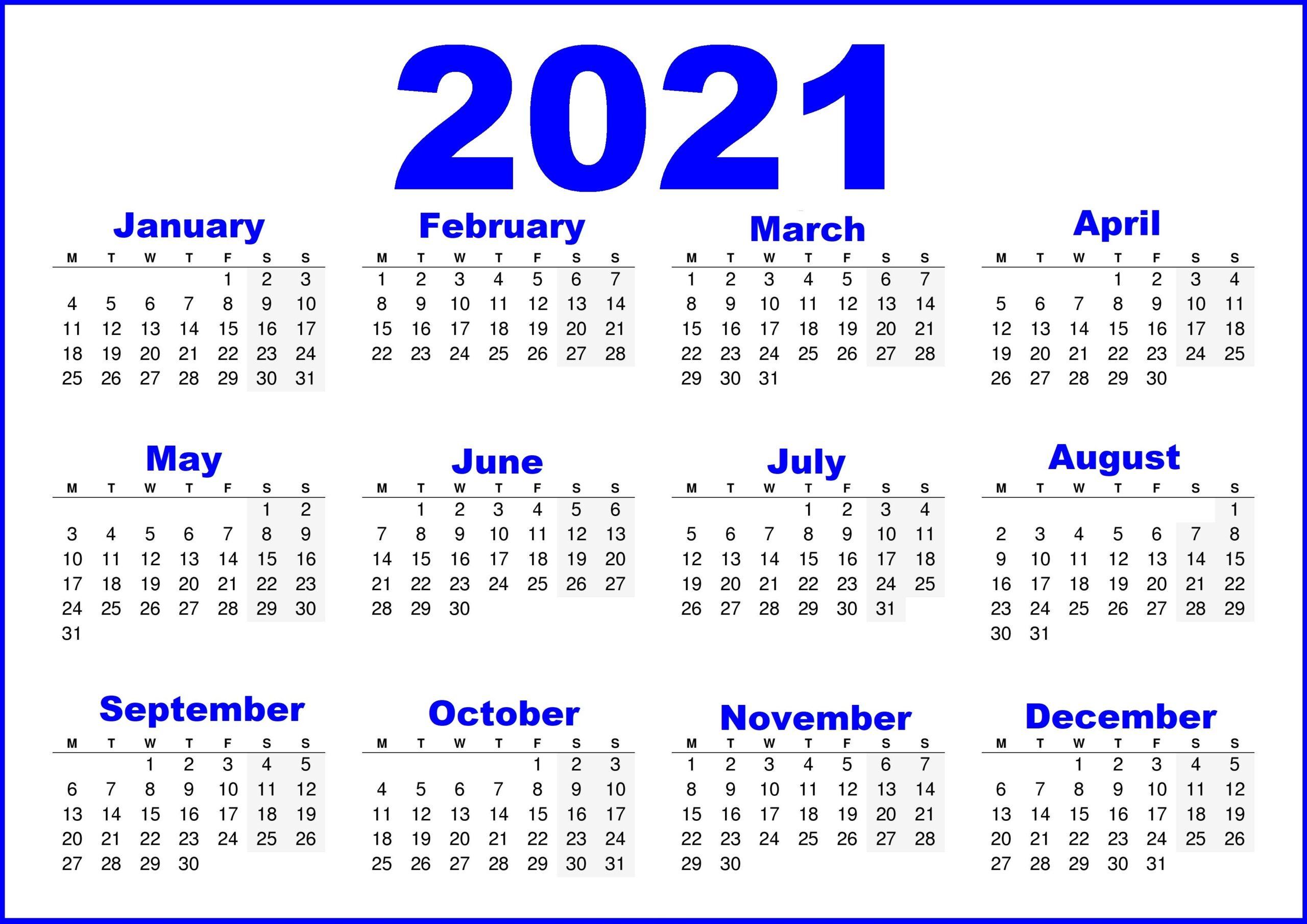 England 2021 Printable Calendar