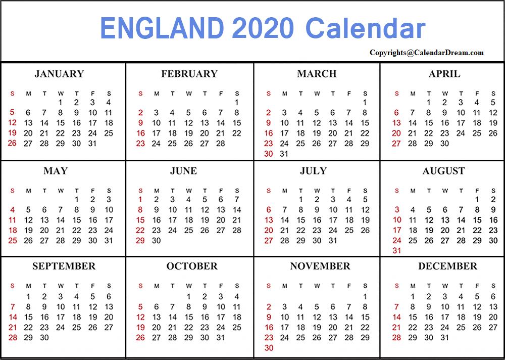 England 2020 Calendar