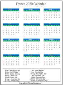France 2020 Calendar