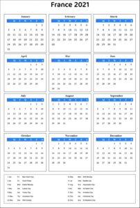 France 2021 Calendar