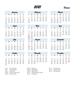 France 2021 Calendar with Holidays