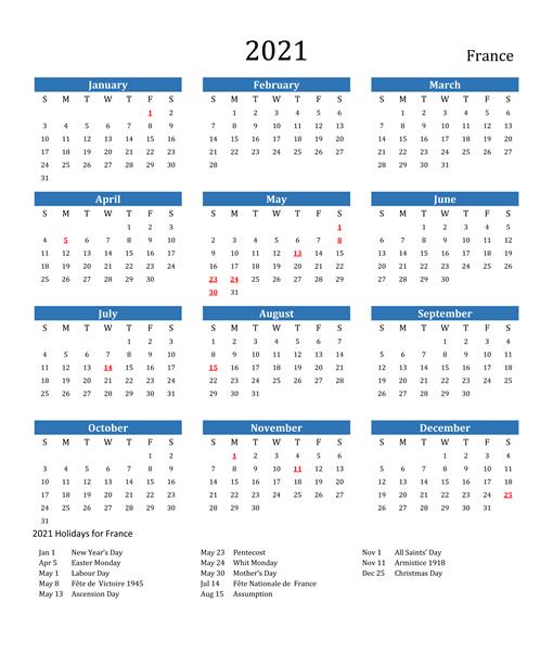France 2021 Monthly Calendar
