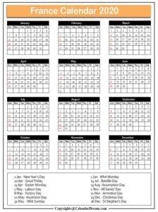 France 2020 Calendar with Holidays