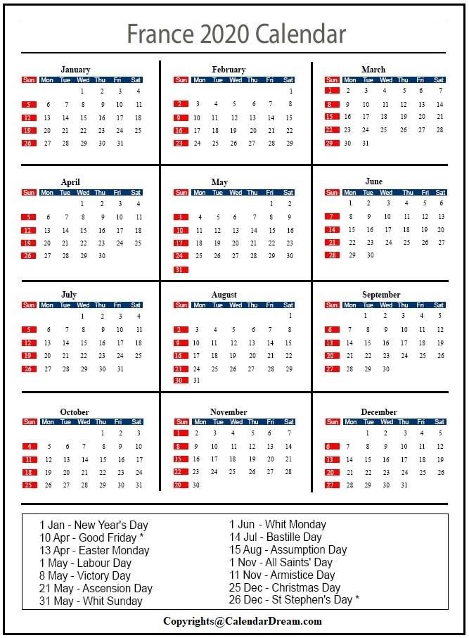 France 2020 Monthly Calendar