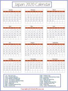 Japan 2020 Calendar, Japan Calendar